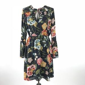 LOFT Floral Empire Waist LS Dress #1220